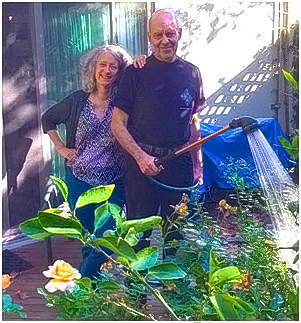 Drs. Connie and Marcel in their Mountain View, CA garden.