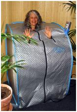 Dr. Connie enjoys a far-infrared sauna.