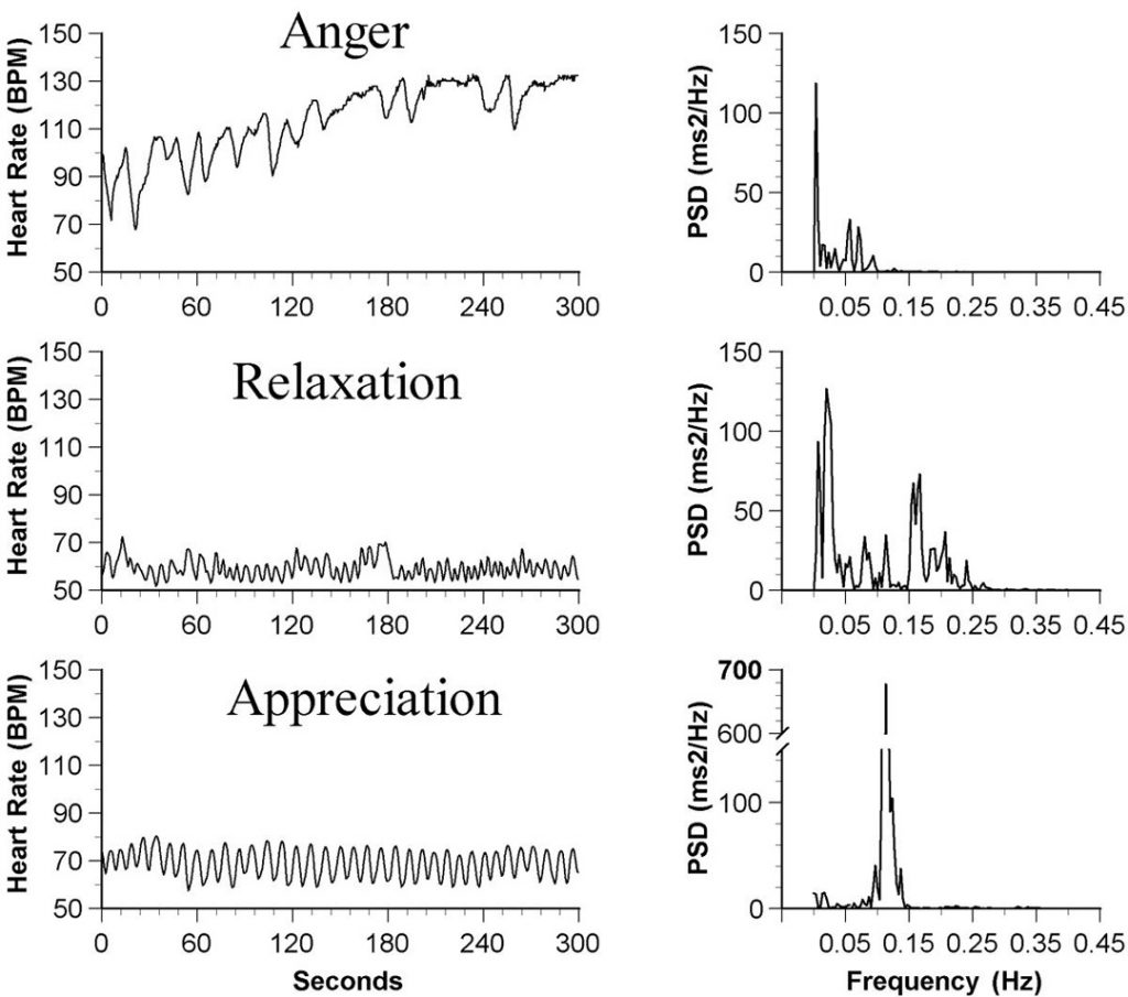 "The chart shows how heart rhythms change in the presence of feelings of Anger, Relaxation, and Appreciation. Note the charts of ""Power Spectral Density"" (PSD) at right. In the presence of positive, expansive feelings, the heart's electrical power increased by more than 400 percent. Click to enlarge"