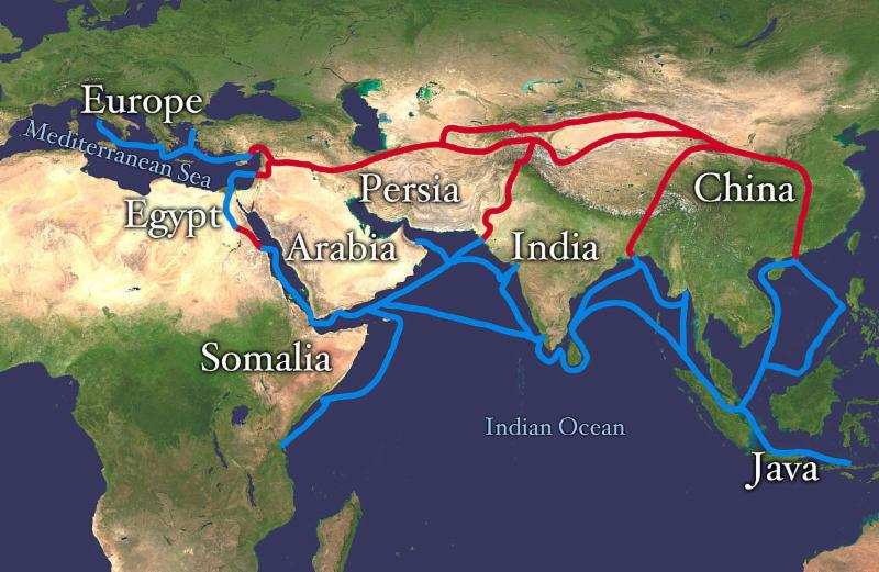 Ancient spice trading routes.